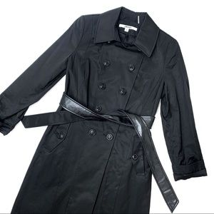 New DKNY Black Trench Coat Leather Belt